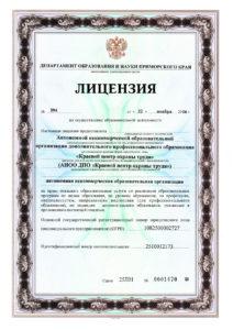 Лицензия ДПО КЦОТ