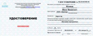 Пример удостоверения